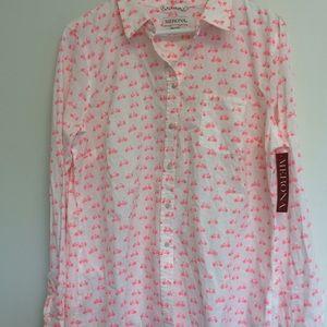 Merona pink & white bicycle 🚲 blouse 👚